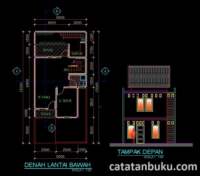 Gambar Kerja Desain Rumah Minimalis Type 240 Format Dwg