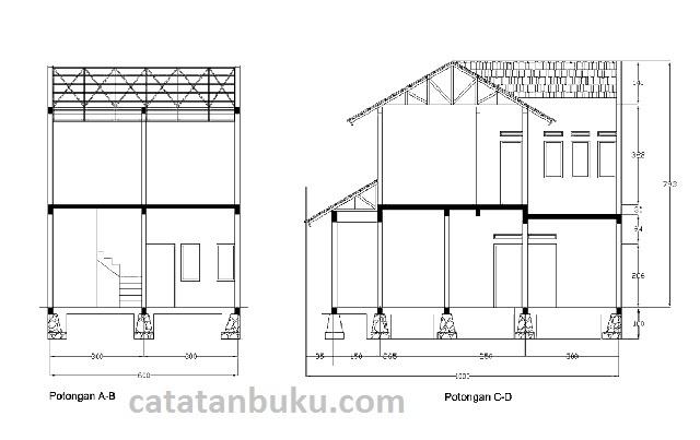 Gambar Kerja Desain Rumah Minimalis Type 210 Format DWG