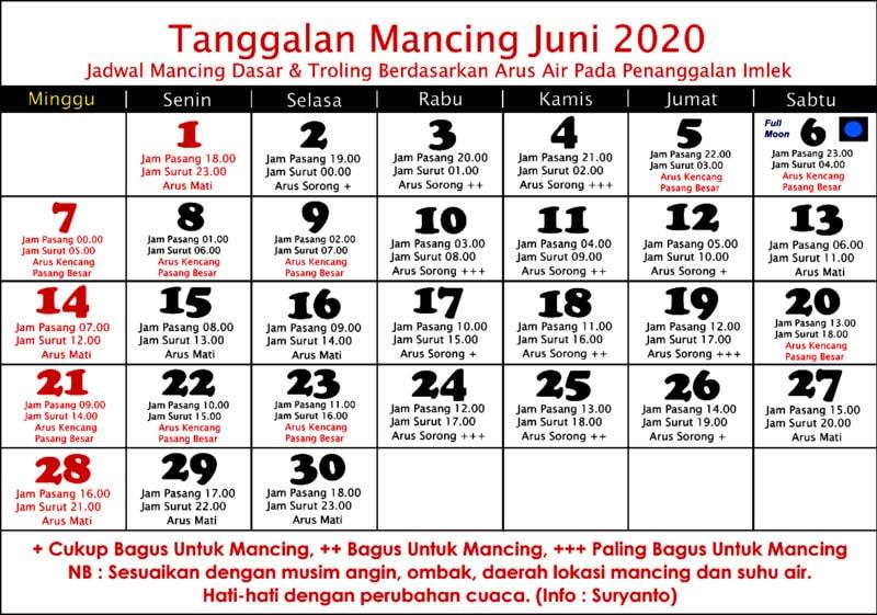 Tanggalan mancing bulan juni 2020. Kalender mancing juni 2020 terbaru.