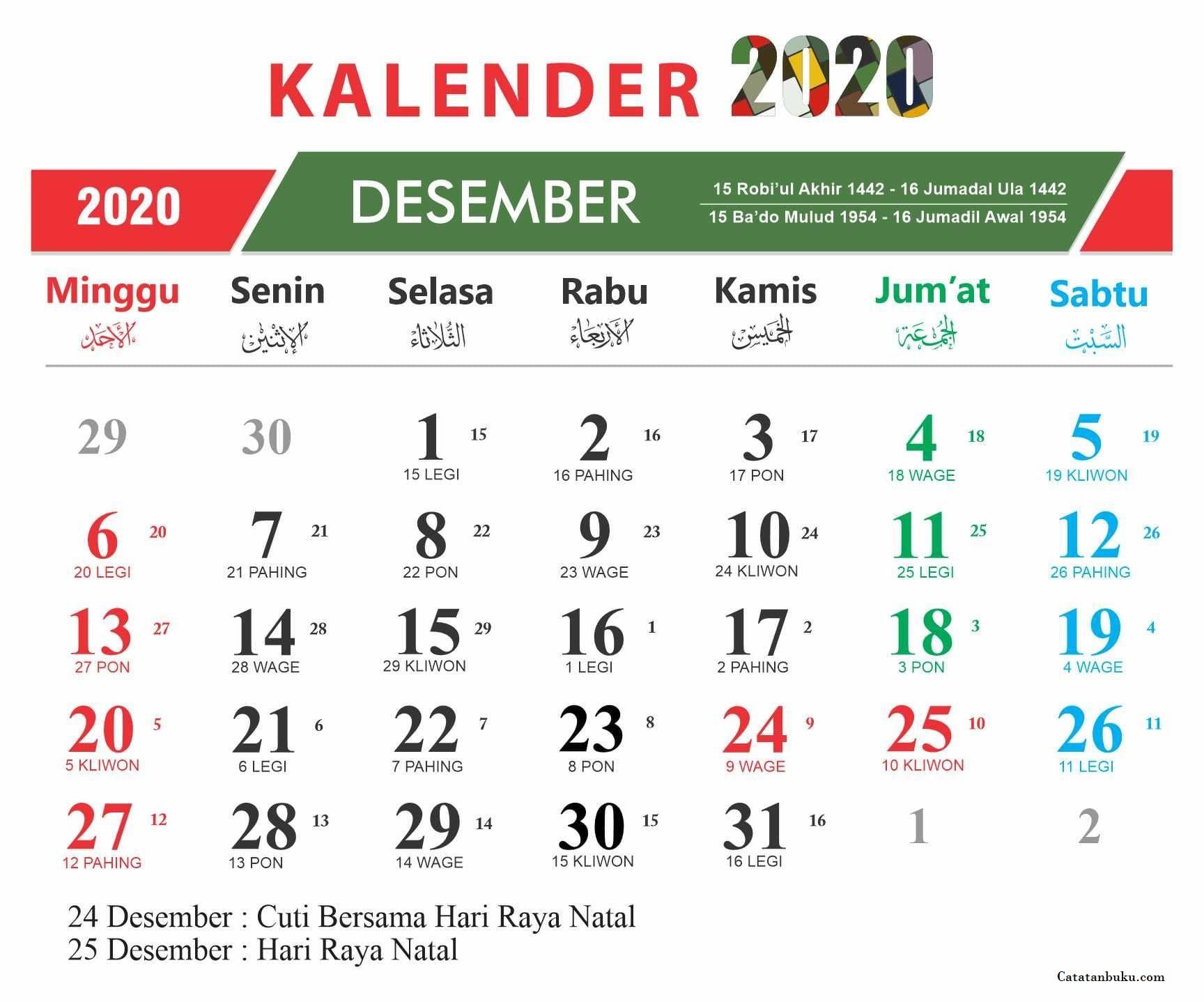 Kalender Bulan Desember 2020 Nasional dan Jawa