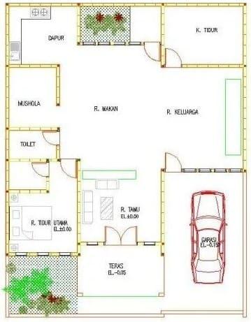 Desain Rumah Sederhana 3 Kamar dengan Musala