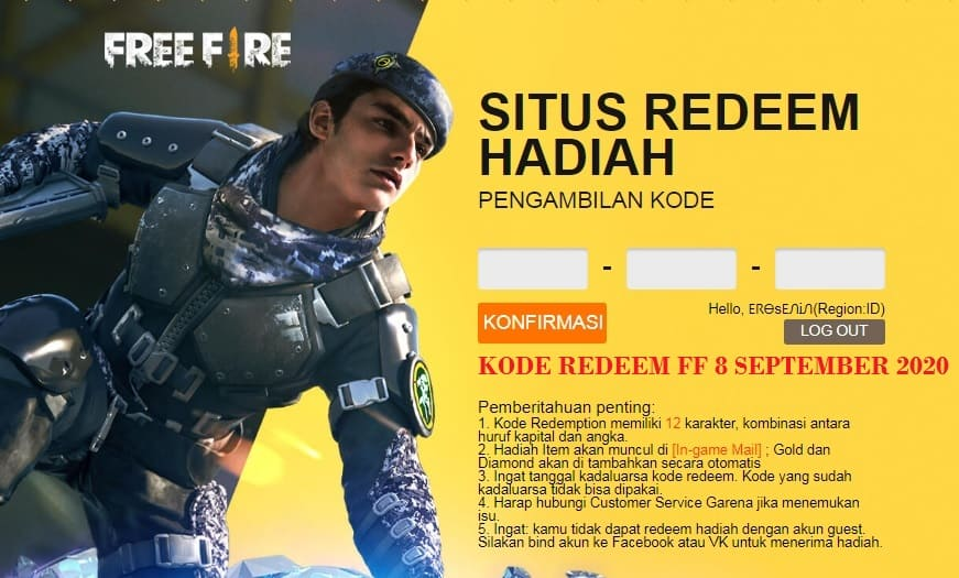 kode redeem ff 8 september 2020